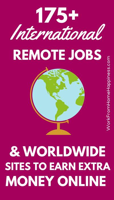 Vous recherchez des emplois internationaux à partir d&#39;emplois à la maison? Que diriez-vous des sites Web mondiaux que vous pouvez utiliser pour gagner de l&#39;argent en ligne? Cette liste massive de plus de 175 entreprises et sites a de nombreuses options à gagner, peu importe votre emplacement. &quot;Width =&quot; 400 &quot;height =&quot; 700 &quot;/&gt; L&#39;une des questions les plus fréquentes que je me pose est:&quot; Où puis-je trouver du travail international à partir d&#39;emplois à domicile? &quot;</p> <p> La réponse n&#39;est pas toujours facile à trouver. Les possibilités offertes à quelqu&#39;un dans les États seront différentes de celles du Nigeria. Même à l&#39;intérieur des États-Unis, il importe! Certaines entreprises ne louent que des états sélectionnés. </p> <p> C&#39;est pourquoi il est difficile, sinon impossible, de proposer une liste de travail à l&#39;échelle mondiale à partir d&#39;emplois à la maison. La vérité est qu&#39;il existe des entreprises qui embauchent dans de nombreux pays différents, mais pas tous. </p> <p> Donc, je me suis mis à proposer cette super liste MEGA de plus de 175 travailleurs internationaux à partir d&#39;emplois à la maison. J&#39;ai également inclus des sites Web qui peuvent être utilisés pour de l&#39;argent supplémentaire ici et là-bas, comme les sites d&#39;enquête et les tests d&#39;utilisabilité. </p> <p> Mais j&#39;ai besoin de votre aide. S&#39;il vous plaît, faites-moi savoir dans les commentaires si un lien est brisé ou si vous trouvez qu&#39;une entreprise fait ou n&#39;embauchera pas votre entreprise. Ensemble, nous pouvons proposer une liste plus grande, meilleure et plus précise du travail international provenant des emplois à la maison. Allez travailler en équipe! </p> <h2> Travail international à partir d&#39;emplois à domicile avec des travailleurs répartis </h2> <p> Le premier lieu logique pour chercher du travail international à partir d&#39;emplois à la maison est une main-d&#39;œuvre répar