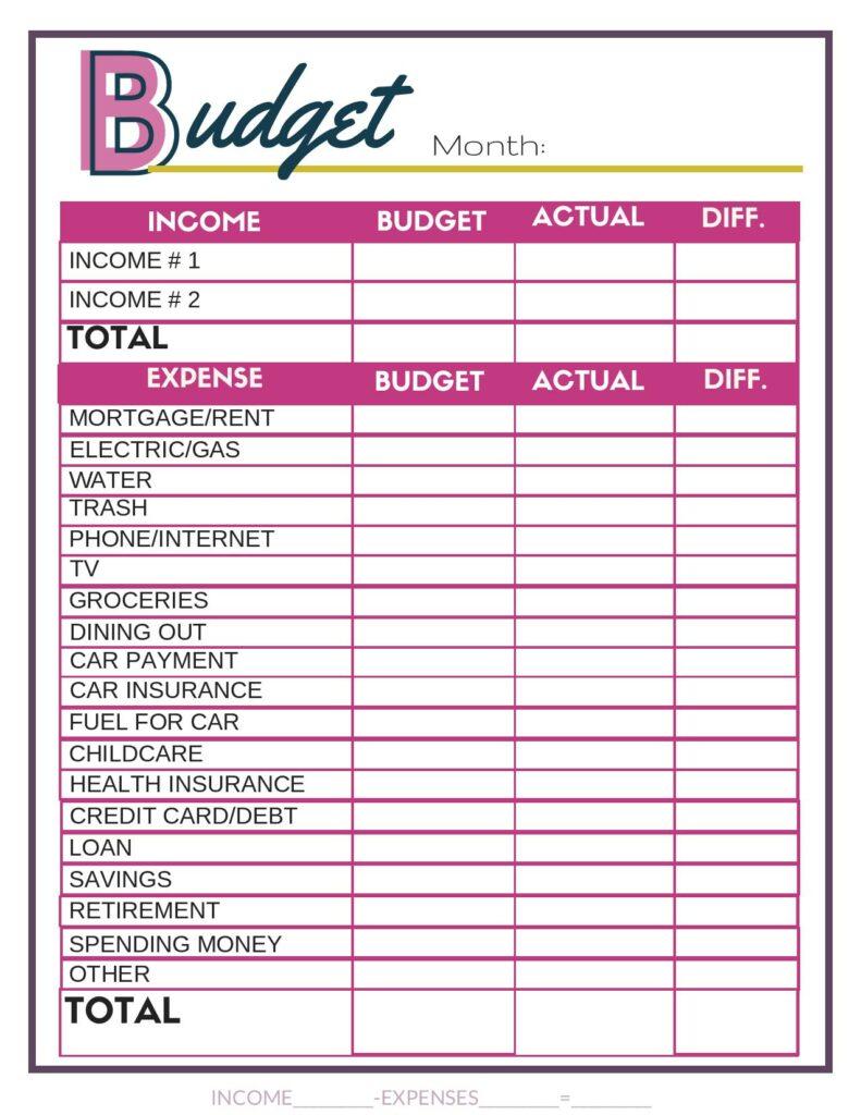 Feuille de calcul budgétaire rose gratuite. #budget #budgetbinder #printable