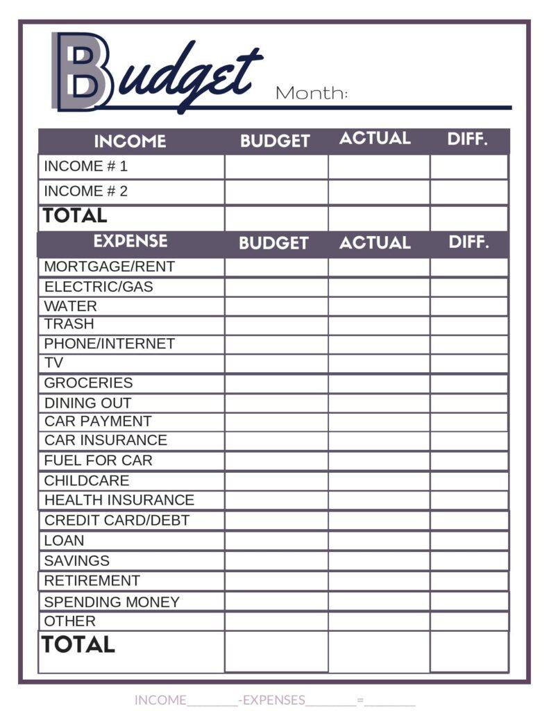 Feuille de calcul du budget violet gratuit. #budget #budgetworksheet #budgetbinder #printables