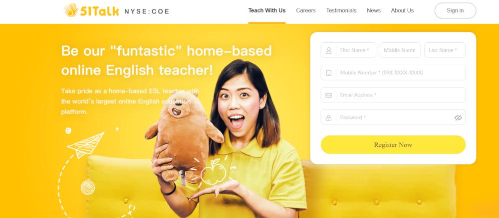 51 Talk Website - Gagnez de l'argent supplémentaire en enseignant ESL