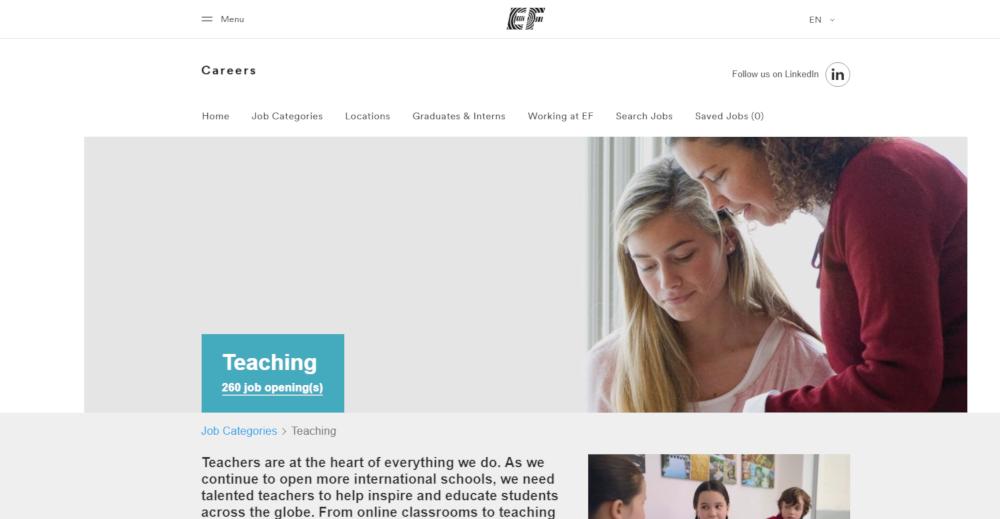 Site Web Education First - Un bon coup de foudre pour les enseignants!