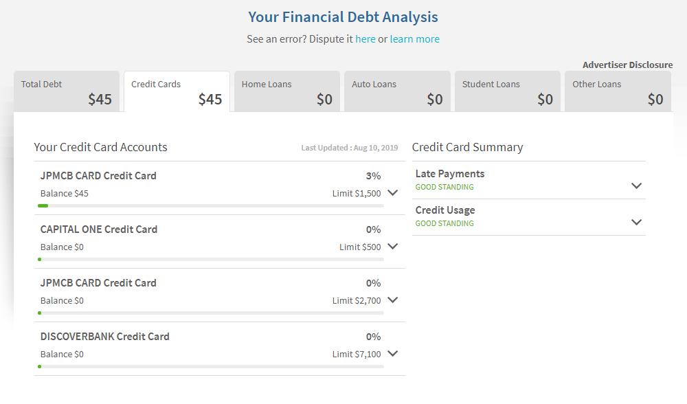 Tableau de bord d'utilisation de la dette Sesame de crédit.