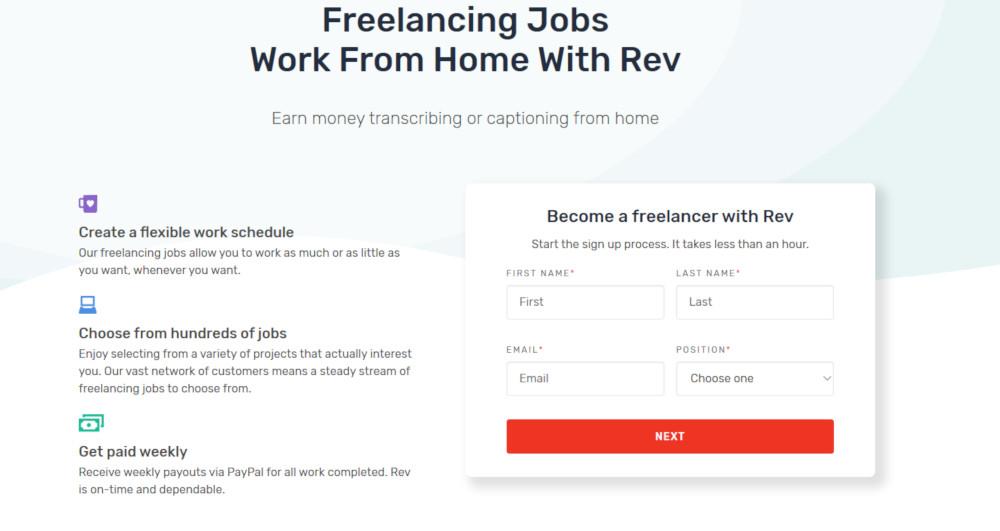 Gagnez de l'argent en tant que pigiste avec Rev.com