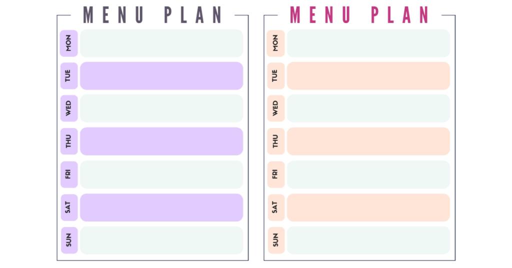 plan de menu gratuit