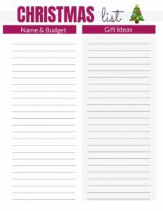 Liste de budget de Noël gratuit