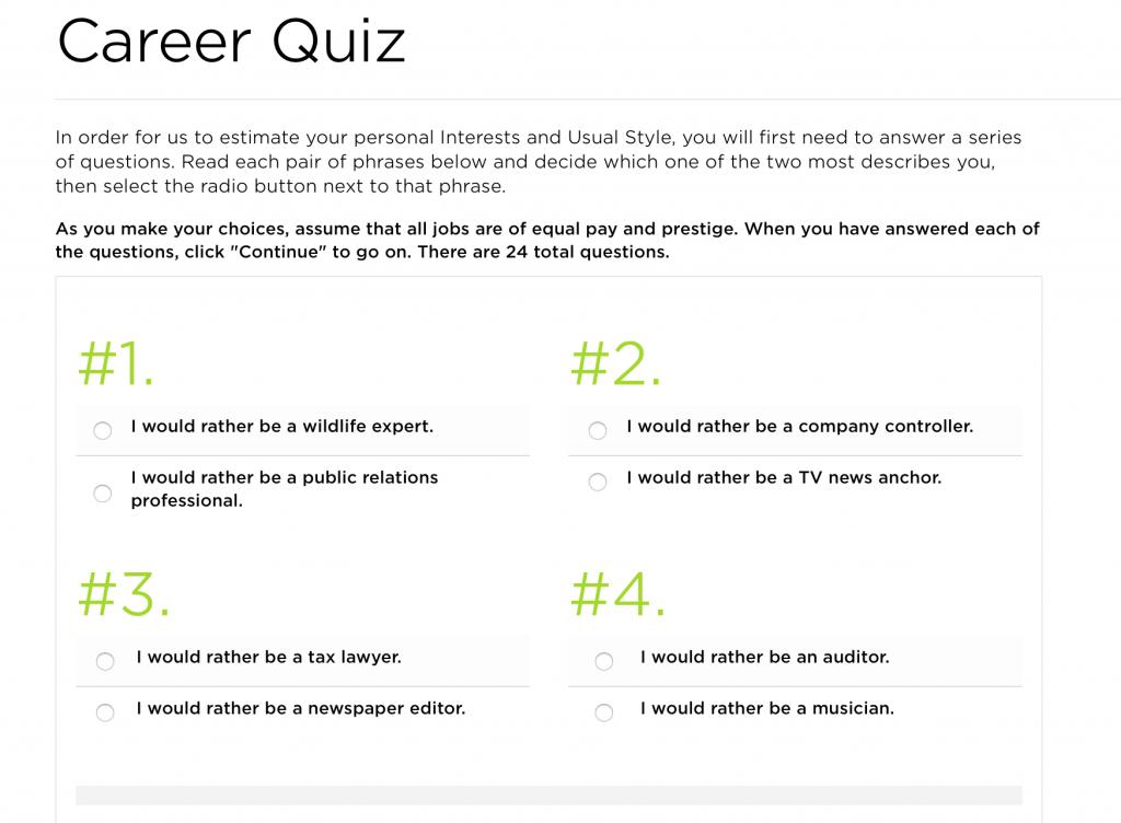 The Princeton Review Career Quiz - l'un des quiz de carrière que vous pouvez prendre pour vous aider à trouver l'emploi de vos rêves.